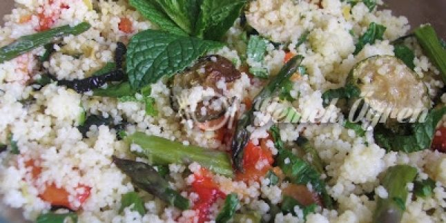 Firinda Kizarmis Sebzeli Kuskus- Couscous Salad with Roasted Vegetables