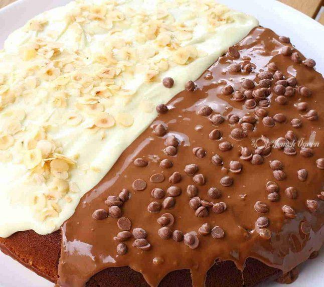 İki renkli tava keki