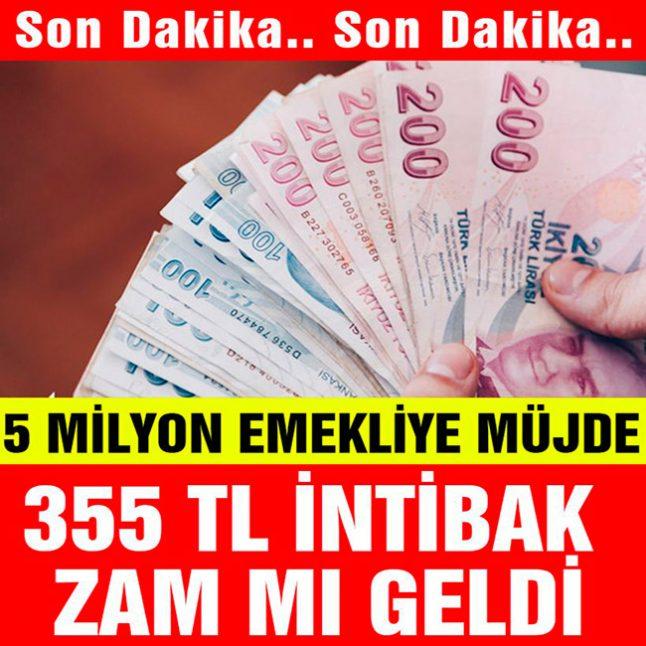 5 Milyon Emekliye 355 TL İntibak Müjdesi