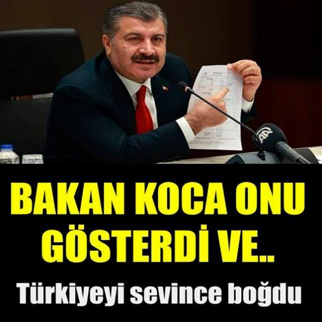 BAKAN KOCA ONU GÖSTERDİ VE.. İşte Türkiyeyi Sevince Boğan Haber!