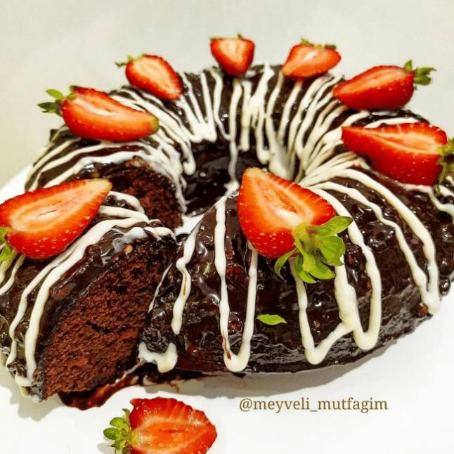 Cevizli Çikolata Kaplı Kek
